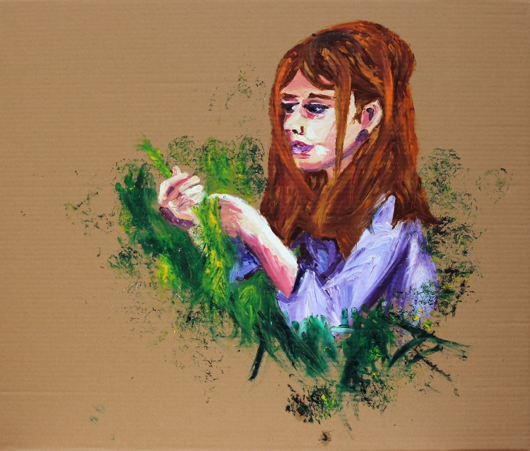 Girl in the Herb Graden / Mädchen im Kräutergarten Oil Fingerpainting