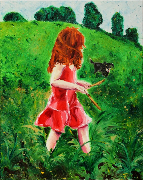 Girl with dog 80x100cm Oil Fingerpainting