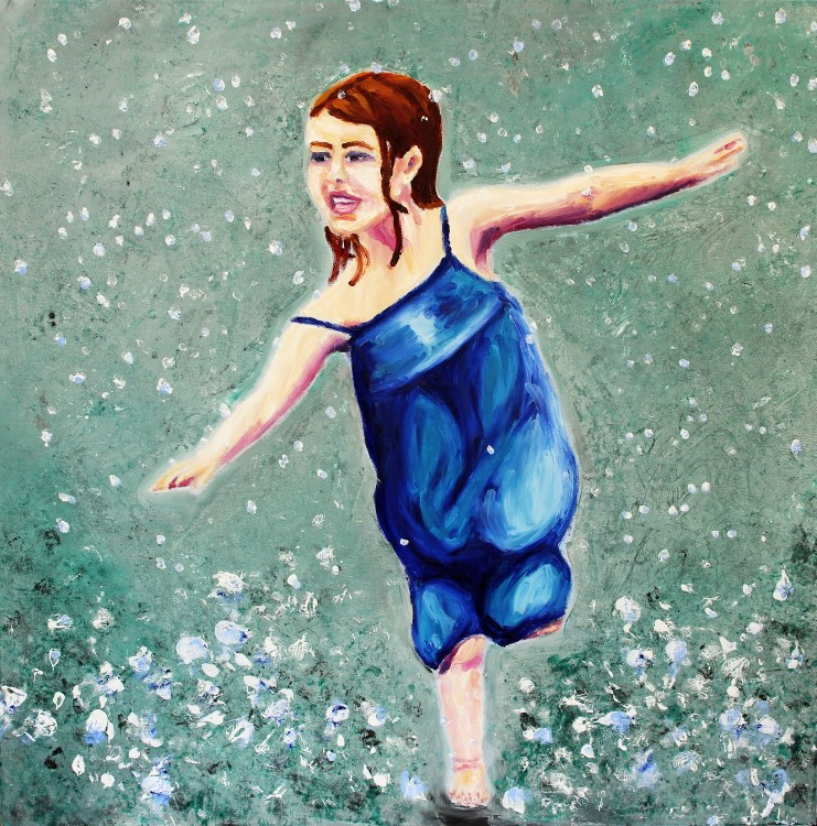 Dancing in the Rain 100x100cm Oil Fingerpainting