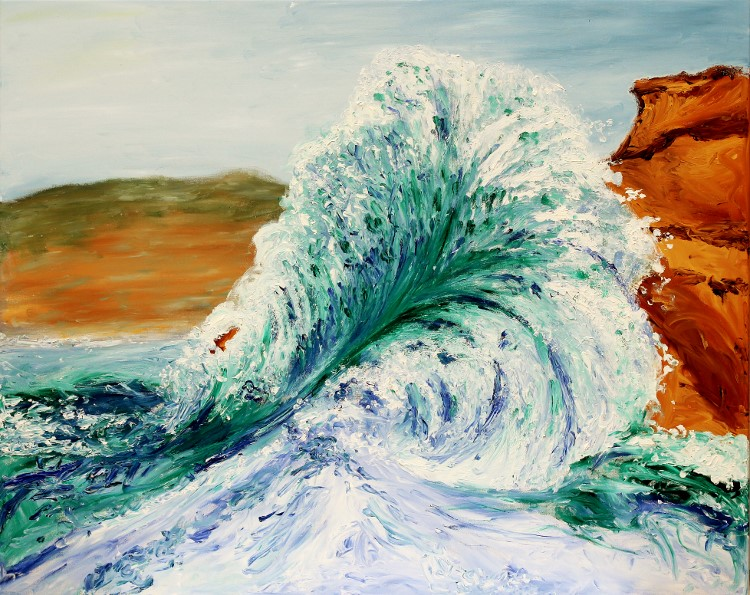 Breakers/ Brandung 80x100cm Oil Fingerpainting